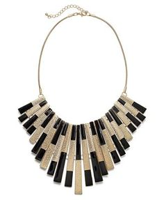 Bar III Necklace, Gold-Tone Black Spray Statement Necklace