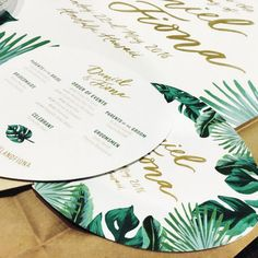Love that the programs are made into fans- two birds with one stone. Some pretty tropical program fans and welcome sign going out to one of our lovely brides today Simple Wedding Invitations, Wedding Invitation Design, Wedding Stationary, Event Invitations, Invitation Suite, Invites, Palm Wedding, Botanical Wedding, Luxury Wedding