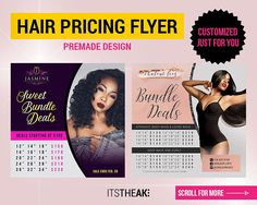 Premade Hair Pricing Flyer Add Your Own Photo Customized Hair Hair Bundle Deals, Virgin Hair Extensions, Business Names, Order Prints, Flyer Design, At Least, Just For You, How To Apply, Social Media