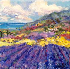 Provence Landscape Lavender Field Original painting 6 di sersonart