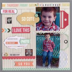 2 photo 1 page Layout: For Reals Scrapbook Supplies, Scrapbook Paper, Scrapbook Layouts, Scrapbooking, Teresa Collins, Baby Boy Scrapbook, Story Quotes, Single Sheets, Page Layout