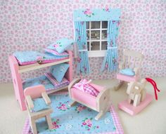 Miniature doll house wooden nursery furniture with accessories shabby chic new via Etsy