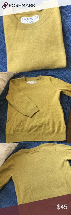 Jack Wills cashmere size 6 Top notch cashmere. Medium weight. 3/4 sleeves in a perfect shade of mustard yellow. It is pristine. Jack Wills Sweaters Crew & Scoop Necks