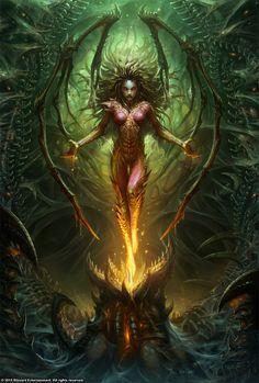Fantasy illustrations by Wei Wang Kerrigan Queen of Blades Starcraft Heart of the Swarm Dark Fantasy Art, Fantasy Women, Fantasy Girl, Fantasy Artwork, Dark Art, Tatoo Angel, Sarah Kerrigan, Starcraft 2, Kerrigan Starcraft