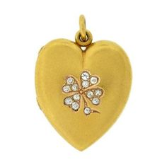 "Victorian 14kt Diamond 4 Leaf Clover Heart Locket. Length 1-1/8""."
