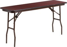 18'' x 60'' Rectangular Mahogany Melamine Laminate Folding Training Table. This rectangular wood folding table is beneficial in a multitude of settings that include the classroom, banquet halls and in training rooms. The space saving design can allow multiple tables in a small to large setting making it the perfect training style table for the classroom or any training facility. The table legs fold under the table to make storage more convenient and for better portability. This table is…