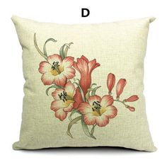 Flower throw pillow Hand painted Art linen cushions for couch