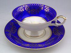 Vintage Alka Bavaria Germany Heavy Gold Gild Cobalt Porcelain Tea Cup & Saucer #AlkaBavaria