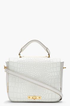 Marc By Marc Jacobs Ivory Leather Top Handle Goodbye Columbus Croc_embossed Bag