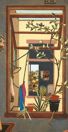 Through Windows, 1984 by Cressida Campbell on Curiator, the world's biggest collaborative art collection. Contemporary Australian Artists, Artist Sketchbook, Collaborative Art, Cool Paintings, Art Auction, Gravure, Art Inspo, Flower Art, Painting & Drawing