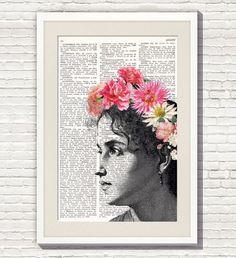WOMAN wearing FLOWER CROWN Print_ #106. Dictionary Art Print by Elsie Von Craft. Hippie Bride. Lámina de Diccionario Impreso. Vintage Art