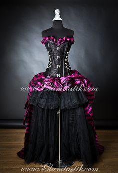 Size Medium Black and Fuschia striped taffeta chain and tulle Circus Harlequin Burlesque Steampunk corset prom halloween dress Ready to Ship