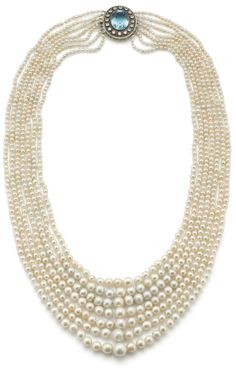 PHILLIPS : UK060111, , A natural pearl, aquamarine and diamond necklace
