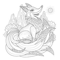 Graceful fox coloring page in exquisite styleFrom the gallery : AnimalsArtist : Kchung Source :  123rf