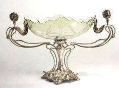 Art Nouveau silver plated and glass centerpiece by WMF It's a uterus, just sayin'