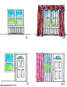 Valances, Curtains and Drapes on different kind of windows.