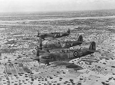 WWII Spitfire Aircraft in North Africa 1943 A WWII photo of operations in North Africa by Allied air forces. A formation of Spitfires on interception patrol over De Djerba Island, off Gabes, are pictured on their way to the Mareth Line area. Ww2 Spitfire, Supermarine Spitfire, Ww2 Aircraft, Fighter Aircraft, Military Aircraft, American Aircraft Carriers, Afrika Corps, Ww2 Planes, Battle Of Britain