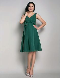 Lanting Knee-length Chiffon Bridesmaid Dress - Dark Green Maternity A-line / Princess V-neck 2016 - $85.49