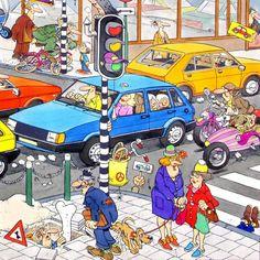 1989 - File / Traffic Jam - Jan van Haasteren - Jumbo puzzle (Illustration in color - NF - Dutch BV) Comic Art Puzzle Books, City Streets, Book Illustration, Pixel Art, Illustrations Posters, Comic Art, Street Art, Art Gallery, Poster Prints
