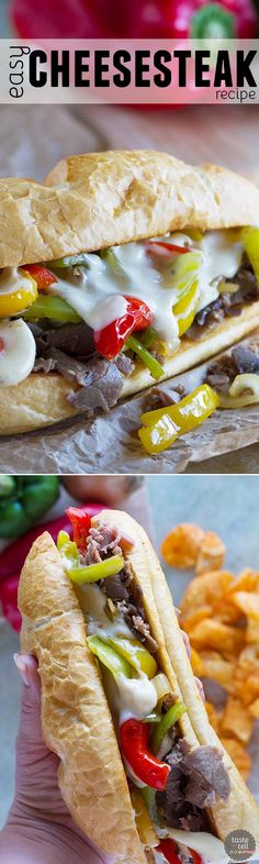 If you are looking for an easy dinner that is a crowd pleaser, look no further than this Easy Cheesesteak Recipe. By using deli roast beef, this recipe comes together in a snap!: