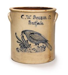 RARE SIX GALLON  STONEWARE CROCK WITH COBALT BLUE DECORATION OF A PHEASANT, C.W. Braun, Buffalo, New York, circa 1880 | Lot | Sotheby's