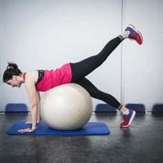 Selkälihasliike pallon päällä Gym Equipment, Exercise, My Style, Sports, Ejercicio, Hs Sports, Excercise, Work Outs, Workout Equipment