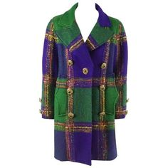 Preowned Christian Lacroix Green & Purple Color Block Wool Tweed... (78.245 RUB) ❤ liked on Polyvore featuring outerwear, coats, purple, purple wool coat, fur-lined coats, color block coats, wool lined coat and vintage wool coat