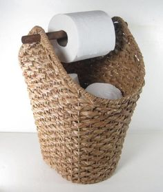 Wicker Rope Basket Toilet Paper Holder Rustic Country Style Bathroom Storage - Basket and Crate Country Style Bathrooms, Bad Styling, Toilet Paper Storage, Toilet Paper Holders, Diy Casa, Rope Basket, Basket Weaving, Bathroom Styling, Small Bathroom