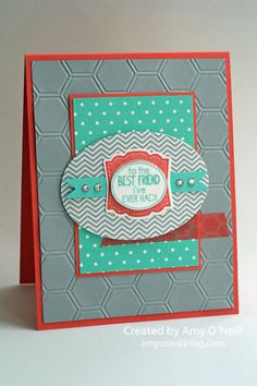 Stamps: Oh, Hello and Label Love Ink: Smoky Slate, Calypso Coral, Coastal Cabana Paper: Calypso Coral, Smoky Slate, Coastal Cabana, Whisper White, In Colors dsp stack Embellishments: Ovals Collection framelits, Artisan Label punch, Epic Day washi tape, Honeycomb embossing folder, Rhinestone Basic Jewels