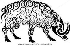 Wild Boar Ornament Vector. Animal Drawing With Floral Ornament ...