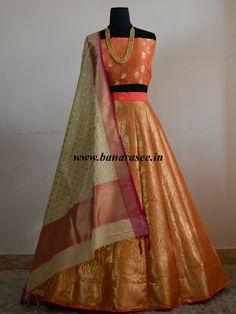 Banarasee/Banarasi Handwoven Art Silk Unstitched Lehenga & Blouse Fabric-Peach