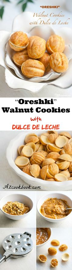 """""""Oreshki"""" Walnut Cookies with Dulce de Leche. Meet some of the most unique cookies that hail from my childhood—walnut-shaped cookies called oreshki. Oreshki means """"nuts"""" in Russian. In this particular case, it means """"walnuts."""" How are these cookies and my childhood related? Check the blog for the rest of the story and recipe 