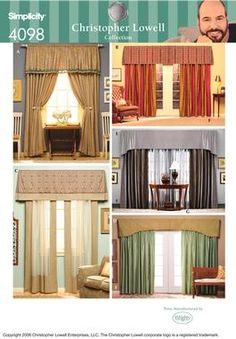 Valances And Drapery Panels Sewing Pattern 4098 Simplicity Christopher Lowell Collection Mccalls Patterns