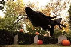 """This very spooky """"flying"""" Grim Reaper Halloween yard decoration is made from chicken wire, PVC pipe and landscape fabric. Designer Johnny Love shows how he created it, on The Home Depot Blog."""