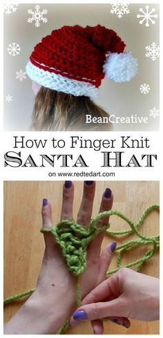 Finger Knitting Santa Hat Project - learn how to knit a santa hat with your FINGERS! Great finger knitting pattern for Christmas #fingerknitting #hat #beanie #santahat #knittedsantahat #patterns #howtofingerknit