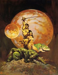 "udhcmh: ""Frank Frazetta cover for 1970 edition of Edgar Rice Burroughs classic and massively influential planetary romance A Princess of Mars (1912). """