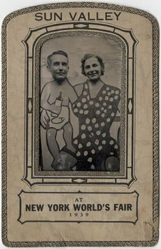 """Caricature portrait: 1939 NY Fair: A man and woman peek over the top of a painted """"front drop"""" of a baby and mother. The paper frame is marked """"Sun Valley at New York World's Fair 1939"""". Sun Valley, A Winter Wonderland was an attraction in the Amusement Zone of the fair. For 25¢ the fair goer could enjoy real snow and ice, mountain scenery, shops, and restaurants."""