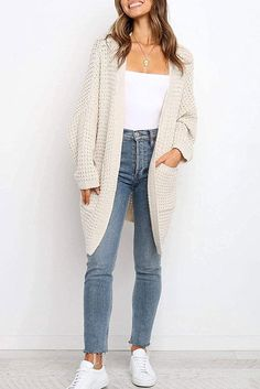 Women's Long Batwing Sleeve Open Front Chunky Cable Knit Cardigan Sweater Casual Outerwear with Pockets Batwing Cardigan, Chunky Knit Cardigan, Cardigan Sweaters For Women, Batwing Sleeve, Sweater Cardigan, Street Style Summer, Lightweight Cardigan, Ulla Johnson, Spring Summer Fashion