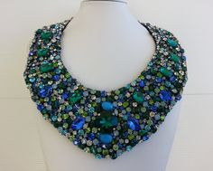 Strass necklace, Statement necklace, Diy necklace, Collar necklace with rhinestone and strass IV113 by IvMiro on Etsy