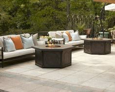 Warm your outdoor conversation area with flickering firelight from our Provenca Custom Gas Fire Table.