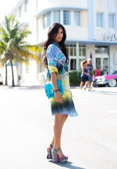 Thanksgiving in Miami-- bright printed silk shirtdress by Peter Pilotto.