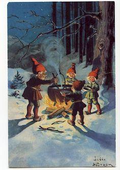 Christmas Gnome, Scandinavian Christmas, Vintage Christmas, Christmas Crafts, Vintage Cards, Vintage Postcards, Fairy Land, Fairy Tales, Winter Scenery