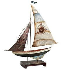 Home decor from Pier 1 Imports:  Capiz & Metal Sailboat gives an office a vacation vibe. #travel