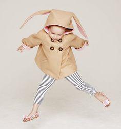 Casaco infantil com capuz de orelhas de coelho Little Goodal