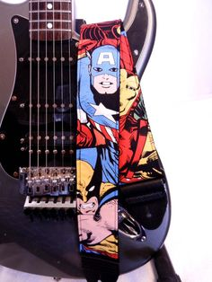COOL!  marvel comics wolverine hulk spiderman guitar by artifacthandmade, $25.00