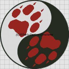 Wolf Paw Print Ying Yang-JK pattern on Craftsy.com