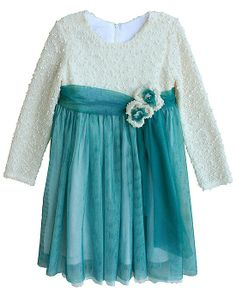 Isobella and Chloe CLARISSA Ivory Teal Dress TODDLER Girls 2T-4T