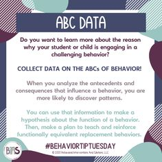 Data collection is one of the most critical steps in the behavior change process. ABC data is a direct observation method in which you analyze the antecedents and consequences that influence a behavior.