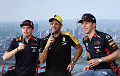 Pierre Gasly of France and Red Bull Racing, Daniel Ricciardo of Australia and Renault Sport and Max Verstappen of Netherlands and Red Bull Racing talk on the fan stage before final practice for. Get premium, high resolution news photos at Getty Images Ricciardo F1, Daniel Ricciardo, Sport F1, Polo Design, Formula 1 Car, Beautiful Men Faces, Thing 1, Red Bull Racing, F1 Drivers