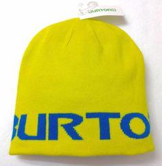 New OSFM Youth&Adult REVERSIBLE BURTON BEANIE Yellow/Blue Winter Knit Ski Hat #Burton #Beanie